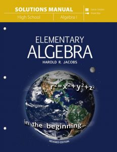 Elementary Algebra (Solutions Manual)